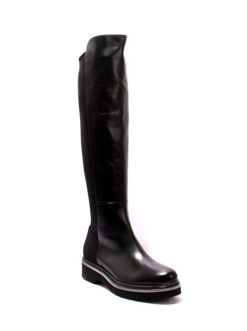 Black / Gray Leather / Stretch Zip Boots