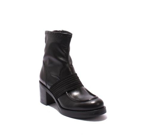 Black Leather / Elastic Zip-Up Heel Boots