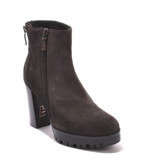 Gray Suede Zip-Up Ankle Trendy Platform Heel Boots