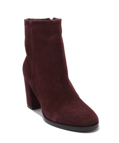 Wine Suede / Zip-Up Heel Ankle Almond Toe Boots