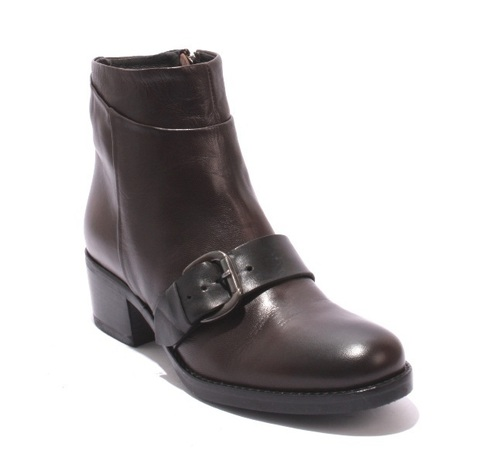 Brown / Black Leather / Zip-Up / Buckle Ankle Heel Boots