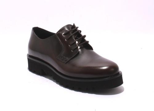 Antique Brown Leather Lace-Up Trendy Platform Shoes