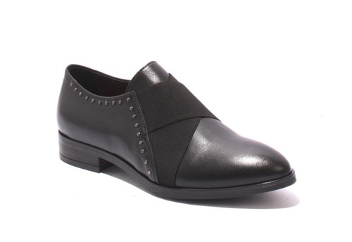 Black Leather / Elastic Studded Trendy Loafers Shoes
