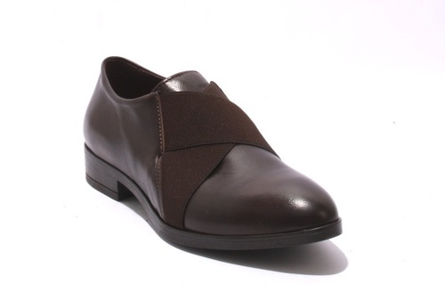 Brown Leather / Elastic Trendy Loafers Shoes