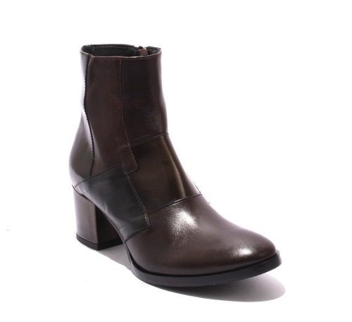 Brown / Black Leather / Zip-Up / Ankle Heel Boots
