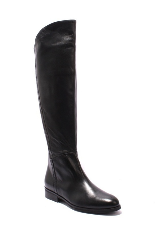 Black Leather / Patent Knee-High Side-Zip Riding Boots
