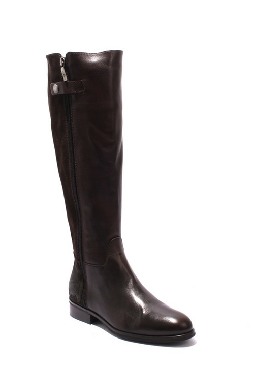 Brown / Leather / Suede Knee-High Zip-Up Riding Boots