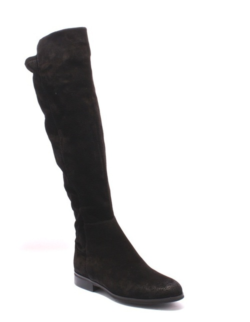 Black Brushed Suede / Stretch Over-the-Knee Riding Boots