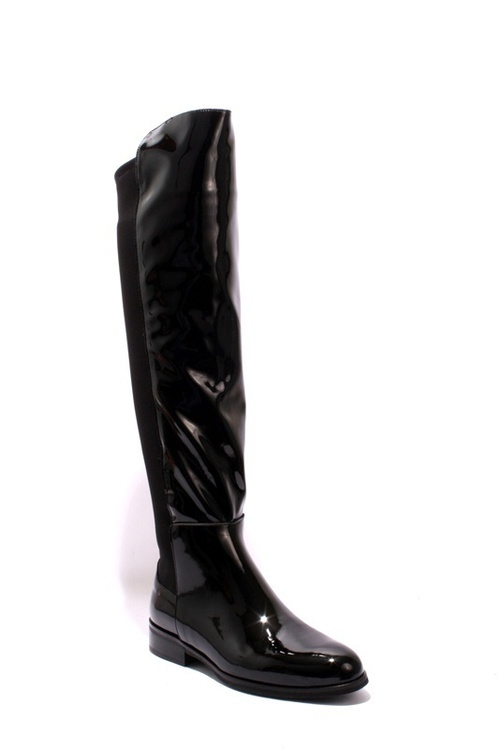 Black Stretch Patent Vinal Leather / Over-the-Knee Boots
