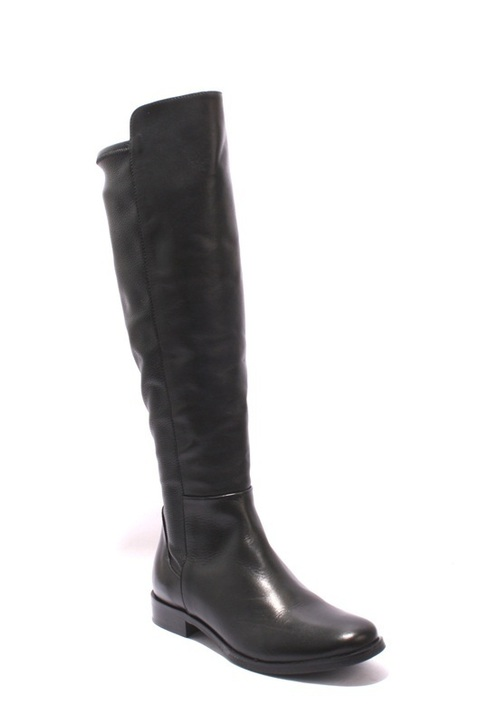 Black Leather / Stretch Knee-High Side-Zip Riding Boots