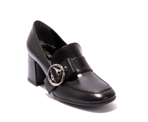 Black Leather Buckle Geometric Heel Shoe Boot