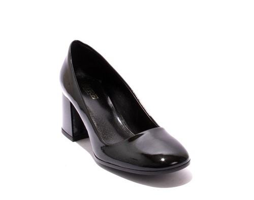 Black Patent Leather Geometric Heel Shoes Pumps