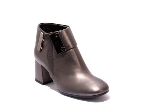 Gray Leather / Geometric Heel Zip-Up Ankle Boots