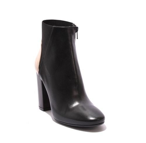 Black / Beige Leather Zip-Up Heel Ankle Shoes Booties