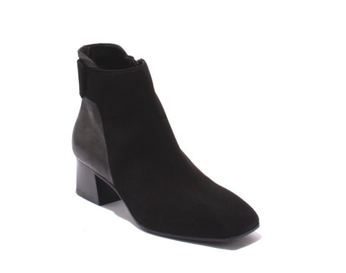 Black / Gray Suede Zip-Up Heel Ankle Shoe Booties