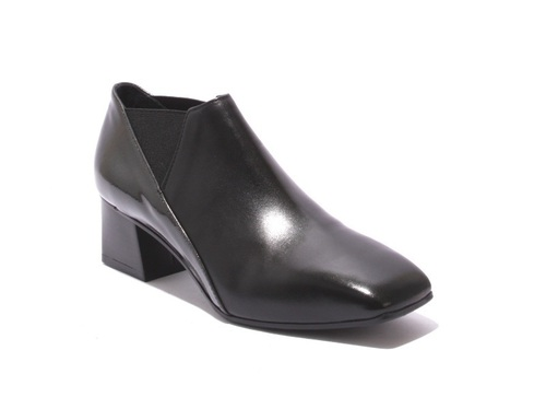 Black Leather / Gray Patent Heel Ankle Shoe Booties