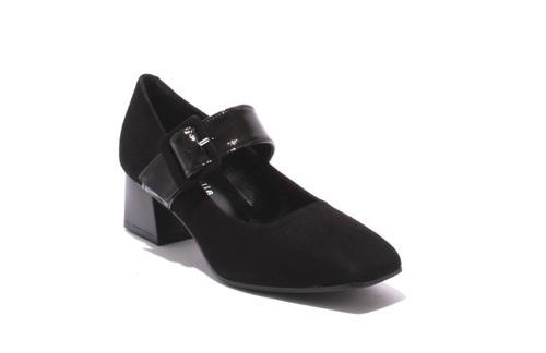 Black Suede / Patent Leather Strap Heel Shoes Pumps