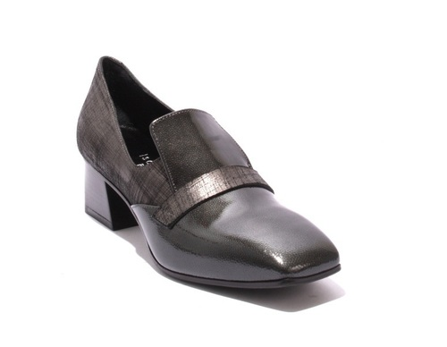 Gray Patent Leather / Stamped Suede Heel Shoe Bootie