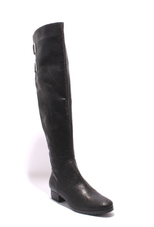 Black Stamped Leather / Shearling Over Knee Boots