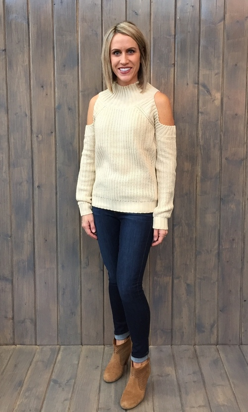 High Neck Cold Shoulder Sand Sweater