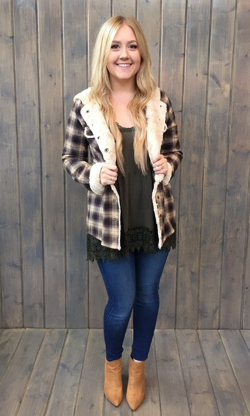 Wanderlust Fur Lined Hooded Flannel By White Crow Mapel