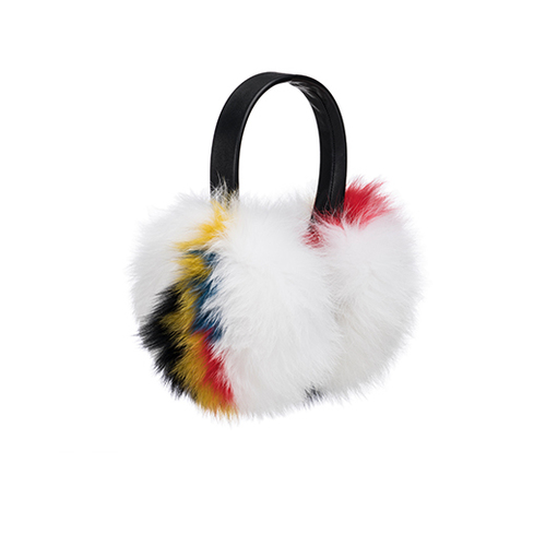 Janine Black Leather Earmuff with White/Multi Fox