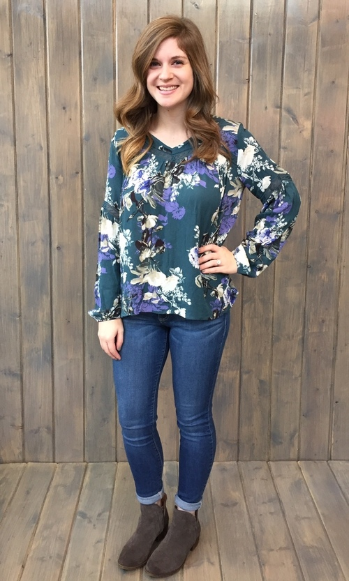 Daxter Juniper Green Floral Blouse