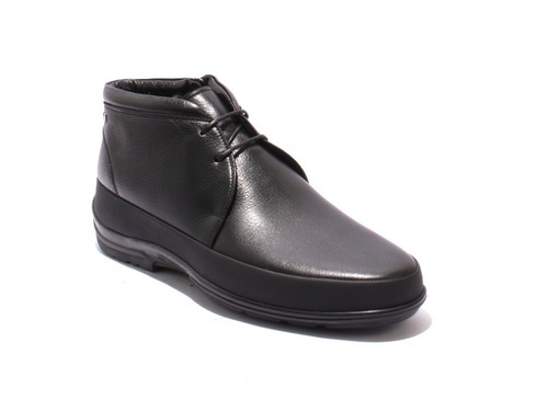 Black Leather Shearling Lace-Up Zip-Up Ankle Boots
