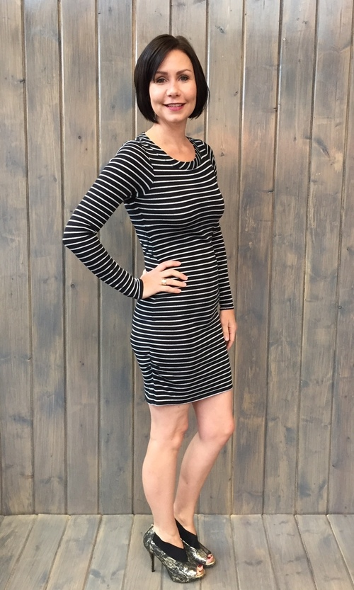 Sparkle Stripe Vent Back Dress