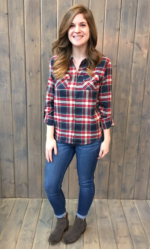 Fall Fashion Taupe & Red Plaid Button Down