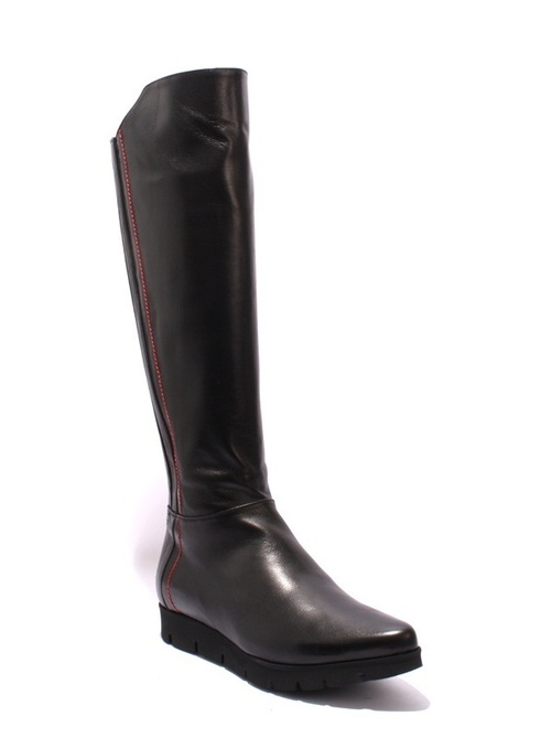 Black Leather / Stretch Fur Platform Knee High Boots