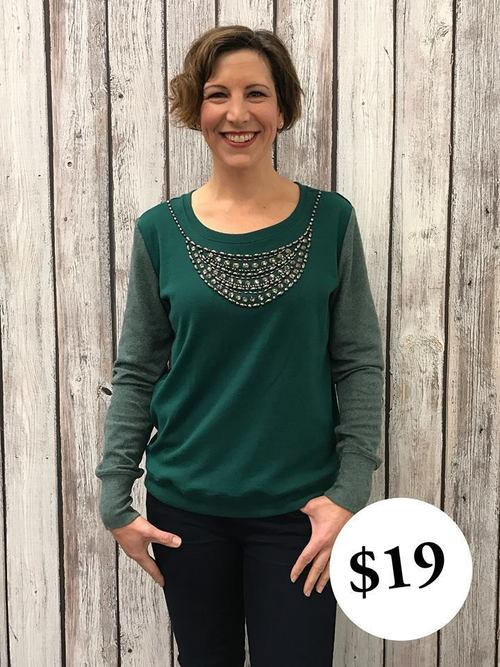 Jeweled Neck Emerald Sweater