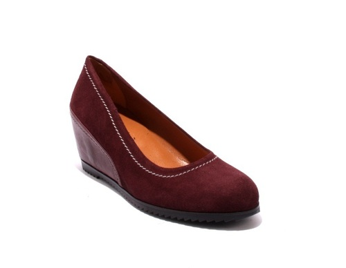 Burgundy / Gray / Suede / Leather Wedge Pumps