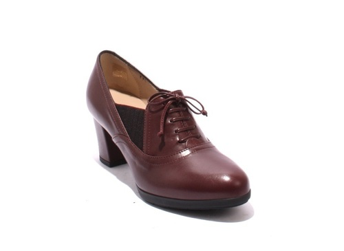 Burgundy Leather / Elastic Comfort Pumps