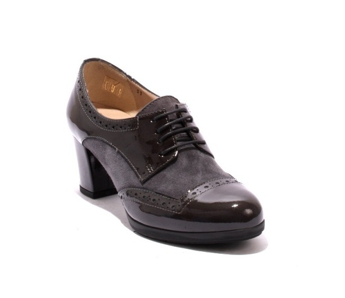 Gray Patent Leather / Suede / Lace-Up Comfort Pumps