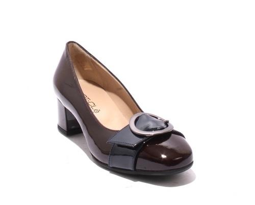 Burgundy / Navy Patent Leather Buckle Heel Pumps