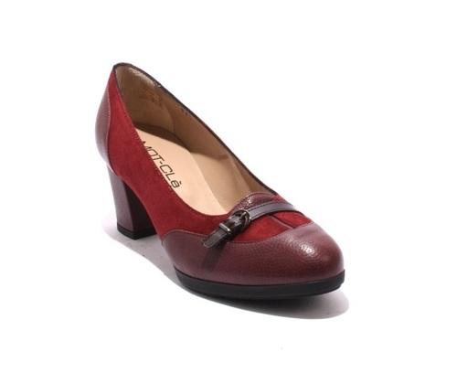 Burgundy Suede Leather / Patent Buckle Heel Pumps