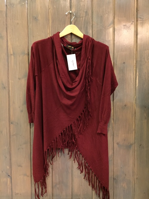 Love Fringe Cardigan Wine