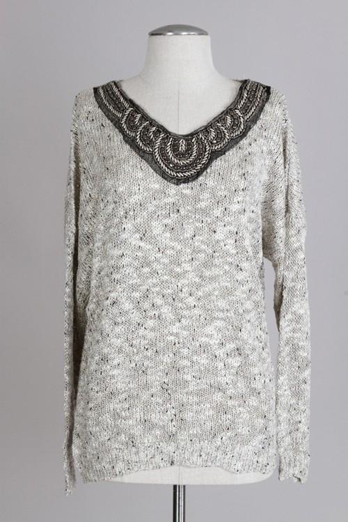 Tinsel embellished sweater