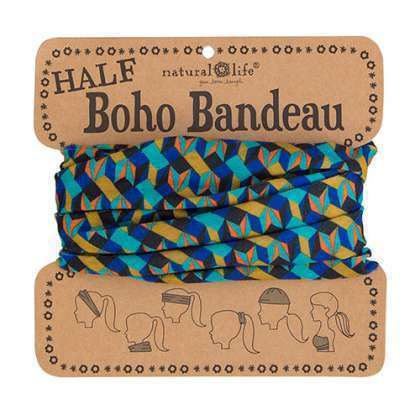 Blue Gold Geo Half Boho Bandeau