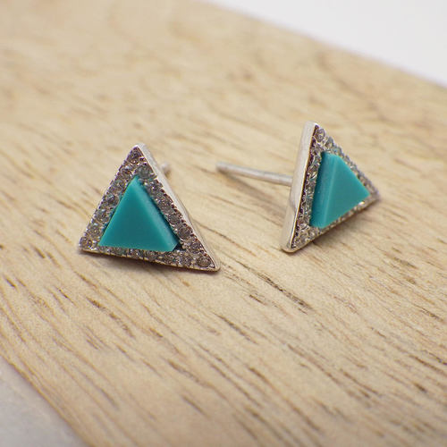 Turq Triangle Stud