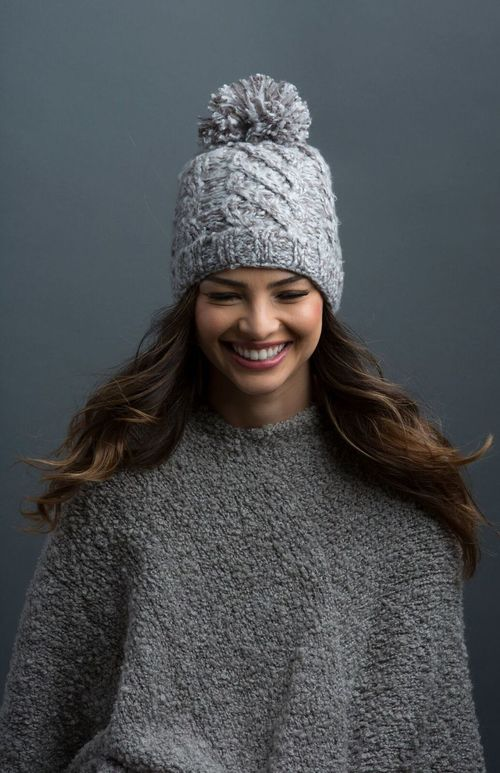 Marshmallow Cable Hat Pewter