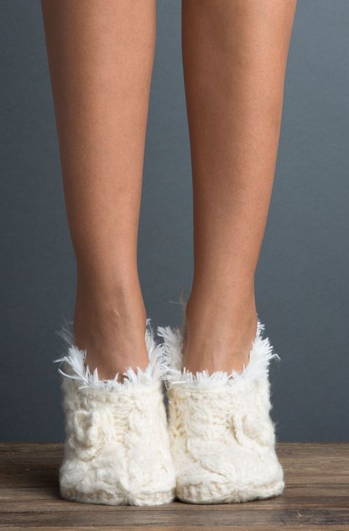 Braided Faux Fur Slipper Polar