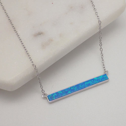 Opal Bezel Bar Necklace