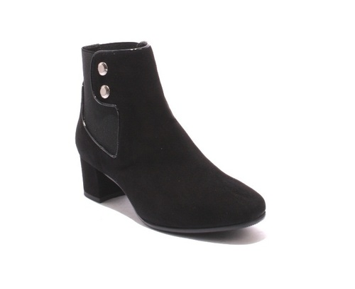 Black Suede / Elastic Ankle Pull On Heel Boots