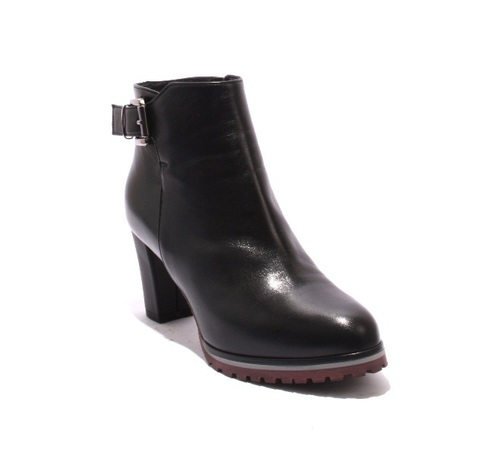 Black Burgundy Gray Leather Zip-Up Ankle Heel Boots