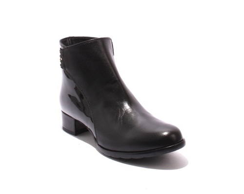 Black Leather / Patent Zip-Up Ankle Heel Boots