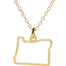 Oregon State Necklace Gold