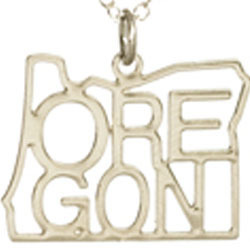 Oregon State Necklace w/ Letters Silver