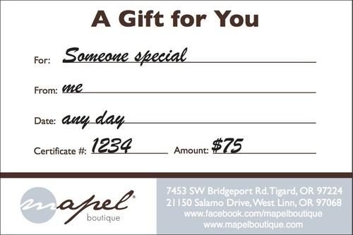 $75 Mapel Gift Certificate